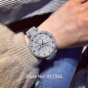 2017 Top Luxury Stainless Steel Watch Lady Shining Rotation Dress Watch Big Diamond Stone Wristwatches Purple Watch Clocks Hours