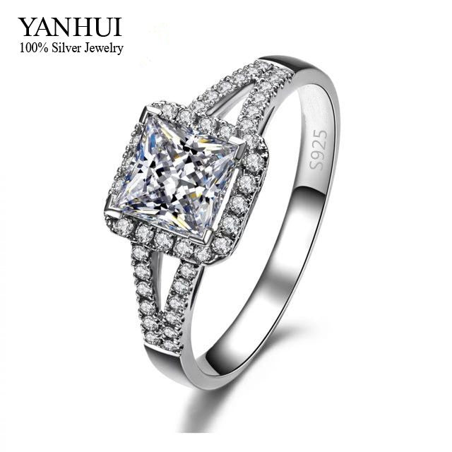 Lost Money Big Promotion! S925 Stamp Sterling Silver Engagement Ring Set 2 Carat Imitated Diamant Wedding Rings For Women JZR008