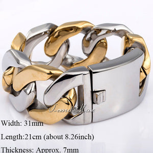 Trendsmax 31mm Huge Heavy  Flat Curb Cuban Bracelet 316L Stainless Steel Gold Silver Tone Bracelet Chain Mens Jewelry HB67