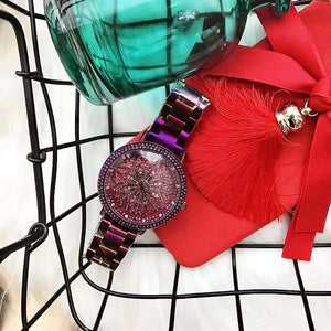 2017 New Purple Lucky Flower Women Watches Luxury Lady Rotation Dress Watch Big Diamond Stone Wristwatch Girl Clocks Hours& Box
