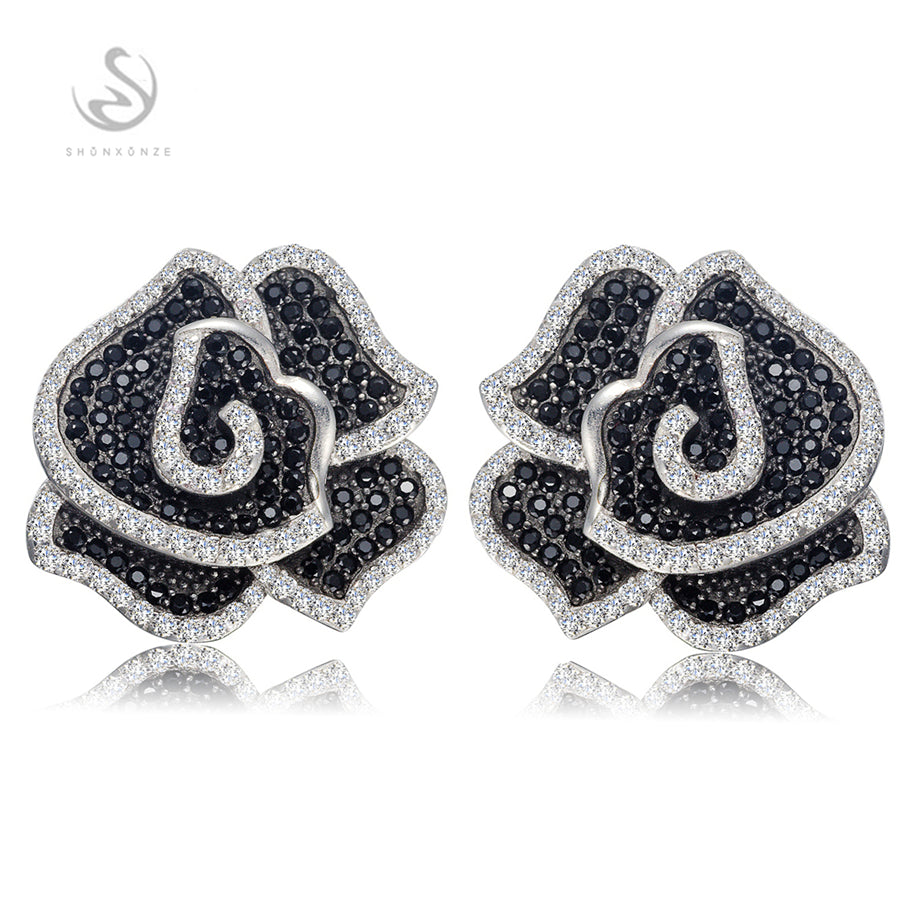 Eulonvan Classic Engagement Wedding 925 sterling silver jewelry Best Sellers White and Black Cubic Zirconia Earrings S--3790GYO