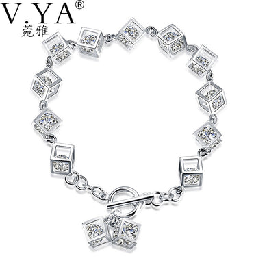VYA 100% Real 925 Sterling Silver Bracelet for Women Jewerly S925 Silver AAA Crystal Full of Box Charm Bracelets HB70