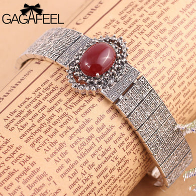 GAGAFEEL Fashion Women Jewelry Real 925 Sterling Thai Silver Vintage Watch band Bracelets Retro Red Store Bangles 77S2