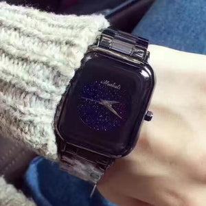 High Qulaity Women Watch!Luxury  Fashion Crystal Bracelet Female Starry Sky Dress Watch Ladies Blue Ocean Square Wristwatches