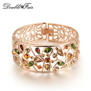 Multicolor Austria Crystal Big Hollow Bracelets & Bangles Rose Gold Color Fashion Rhinestone Jewelry For Women DFB007