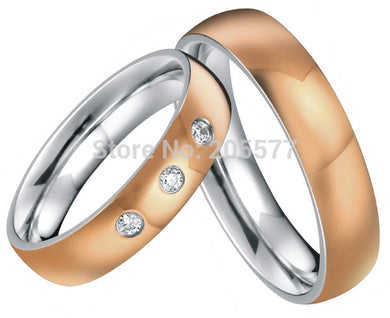 rose gold plating custom health titanium ring wedding band couples engagement ring sets