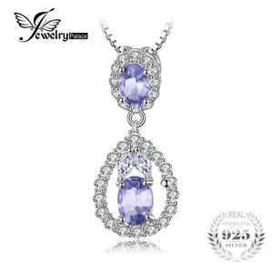JewelryPalace Elegant 2.2ct Natural Tanzanite White Topaz Pendant Necklace Real 925 Sterling Silver Jewelry 45cm Chain For Women