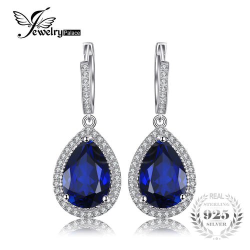 JewelryPalace Luxury Pear Cut 12.4ct Blue Created Sapphires Dangle Earrings Solid 925 Sterling Silver Jewelry Fashion Women Gift