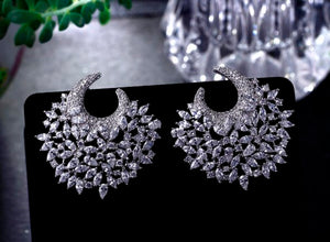 Exaggerate earrings Unique jewelry Excellent quality 2018 Bright Cubic Zirconia Evening party Big earing pendientes mujer moda