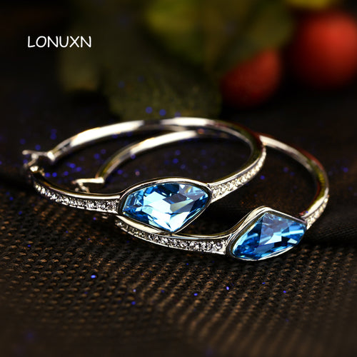 2 colors 2017 new High quality women jewelry big blue Crystal Earrings female lucky stone fashion hoop Earrings lovers gift