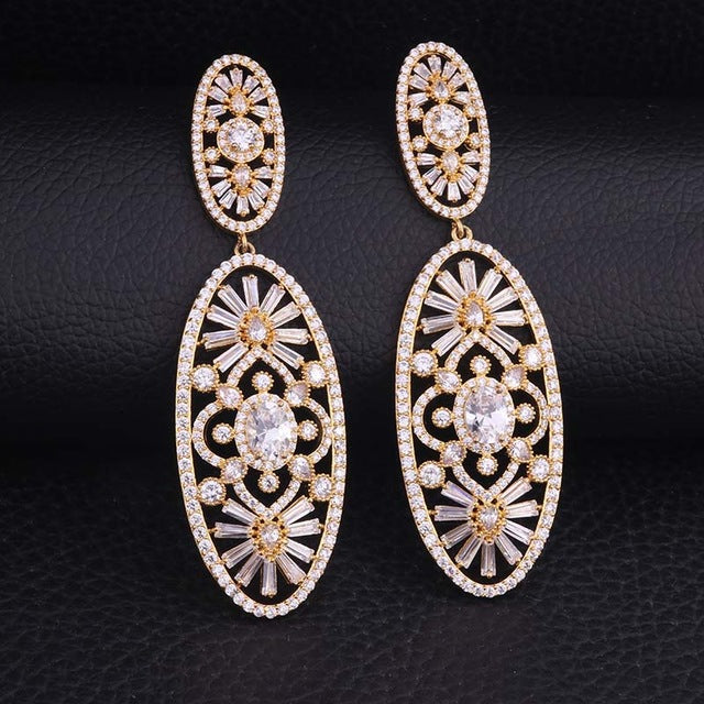 Feelgood Luxury Bride Jewelry Fashion Micro Pave AAA Cubic Zirconia Drop Earring Gold Color Flower Statement Earrings For Women