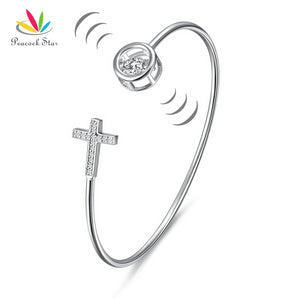 Peacock Star Dancing Stone Cross Bangle Solid 925 Sterling Silver Bridal Wedding CFB8015
