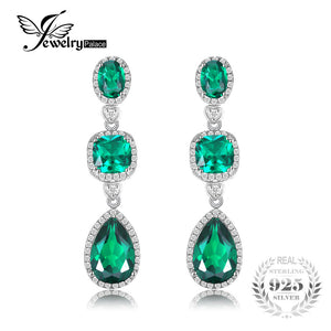 JewelryPalace Luxury 4.5ct 3 Stone Green Nano Russian Created Emeralds Drop Earrings Solid 925 Sterling Silver Long Earrings