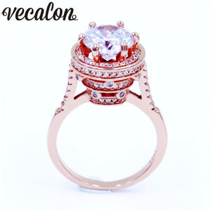 Vecalon Vintage Women ring Round cut 4ct Diamonique Cz Rose Gold Filled 5 layer Engagement wedding ring for women men Gift