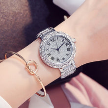 2 Pieces! High Quality Women Watches Luxury Steel Full Rhinestone Wristwatch Lady Purple Crystal Dress Watch Female Quartz Watch