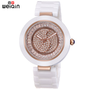 WEIQIN Elegant Date Crystal Diamond Women Wristwatches Outdoor Leisure Ceramic Band Ladies Watches Relojes Mujer Marca De Lujo