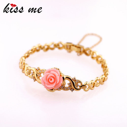 Accessories austria crystal New gold Color girls rose bracelet boxed Factory Wholesale