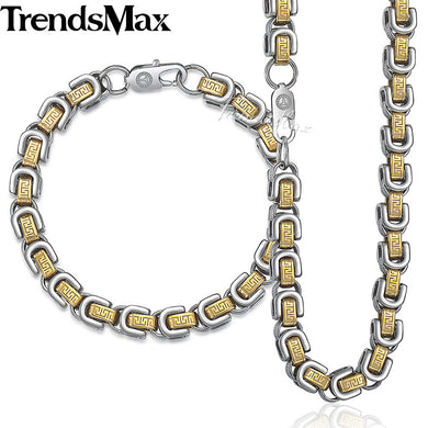 Trendsmax Byzantine Box Chain Womens Mens Bracelet Necklace Jewelry Set Stainless Steel Gold Silver Color 8mm KKS235
