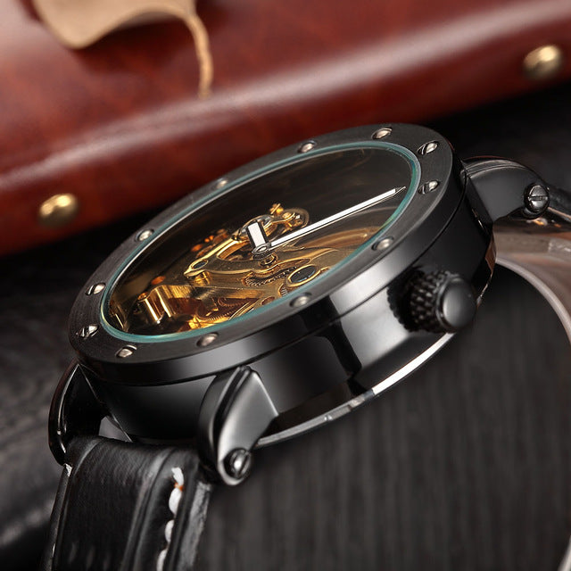 SHENHUA Automatic Mechanical Watch men Top Brand Luxury Leather Stainless Steel Transparent Skeleton Watch Relogio Masculino