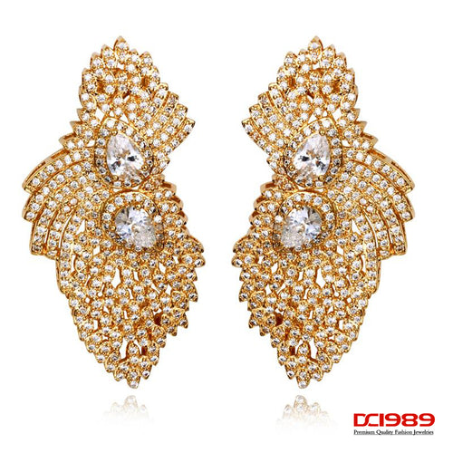 DreamCarnival 1989 Butterfly Design Earrings For Women Cubic CZ Paved Wedding Fashion Jewelry Rhodium Or Gold Color Pendientes