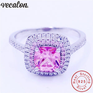 Vecalon New Jewelry Real 100% Soild 925 Sterling Silver ring 3ct 5A Zircon Pink Cz Engagement wedding Band ring for women men