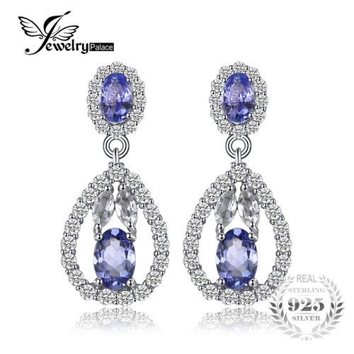 JewelryPalace Elegant 2.8ct Tanzanitess White Topazs Drop Dangle Earrings 925 Sterling Silver Jewelry Gift For Women Hot Salling