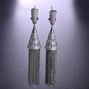 Blucome Luxury Micro Pave Zircon Dangle Earrings For Women Lady Ear Jewelry Long Pendant Tassel Bridal Earring boucle d'oreille
