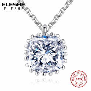 ELESHE New Fashion Bijoux Link Chain 925 Sterling Silver Necklace Shining Charm Square Crystal Necklaces & Pendants For Women