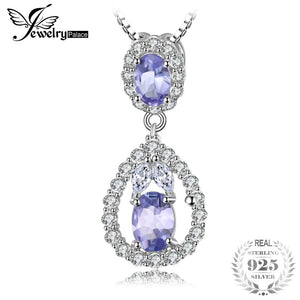 JewelryPalace Elegant 2.2ct Natural Tanzanite White Topaz Pendant Necklace Real 925 Sterling Silver Jewelry For Women 18 Inches