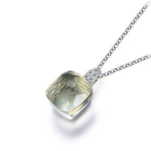 100% Real Pure 925 Sterling Silver Chocker Necklace Square Citrine Amethyst Green Quartz Necklaces & Pendants for Women