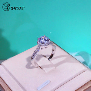 90% OFF ! Bamos Luxury Female Crystal White Round Ring Real 925 Sterling Silver Ring Vintage Wedding Engagement Rings For Women