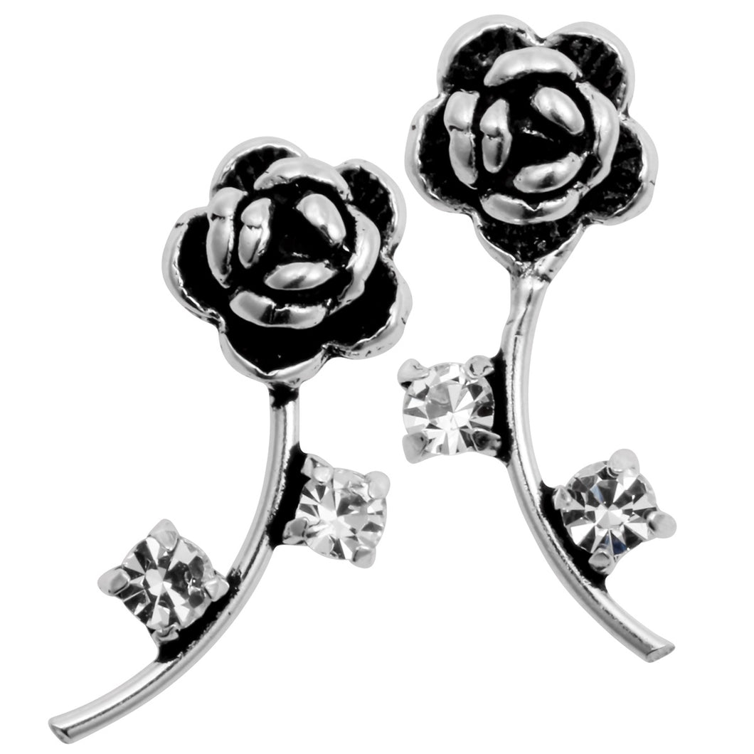 925 Sterling Silver CZ Flower Cubic Zirconia Stud Earrings Costume Fashion Jewelry Gifts for Women Girls Her Dropshipping YCE134