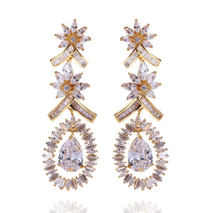 Flower drop Earrings copper material with Cubic zircon stone luxury long earring Fashion jewelry Free shipping