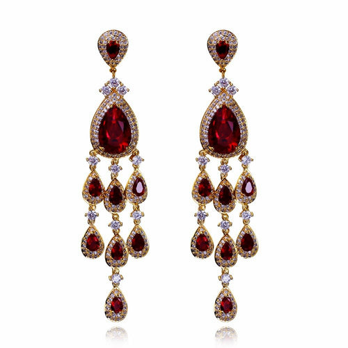Limited edition Tassel earrings Latest design Red Champagne White Colorful Bright Zircon Luxury Jewelry brincos para as mulheres