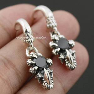 925 Sterling Silver Dragon Claw Black CZ Stone Mens Biker Rock Punk Stud Earrings 8R007 (2 Pieces)