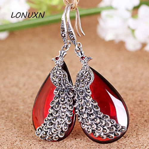 2017 new high-end good 925 Sterling Silver Vintage Natural semi-precious stones Garnet peacock Phoenix Teardrop female Earrings
