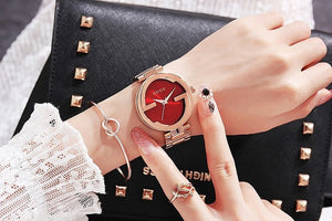2017 New Fashion Women Watch Lady Luxury Stainless Steel Rose Gold Wristwatch Women Waterproof Quartz Dress Watches & Bracelet