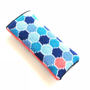 Eyeglass Case- Needlepoint Kit with Stitch Painted Canvas: Hexie Design