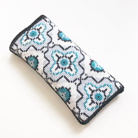 Eyeglass Case - Needlepoint Kit with Stitch Painted Canvas: Medallion Design