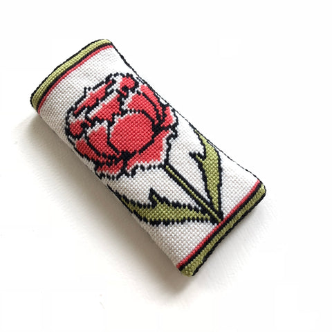 Eyeglass Case - Needlepoint Kit with Stitch Painted Canvas: Peony Design