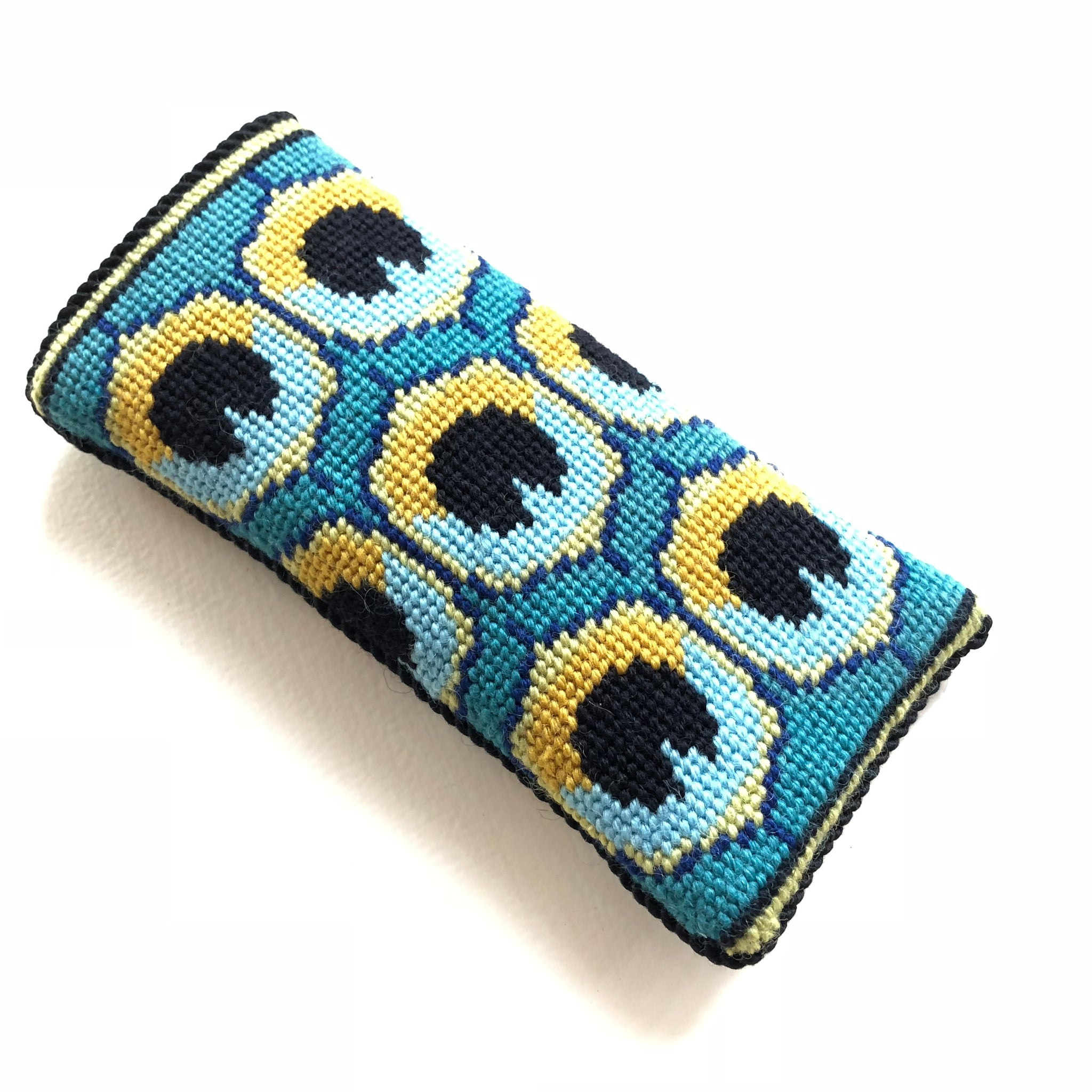 Eyeglass Case - Needlepoint Kit with Stitch Painted Canvas: Peacock Design