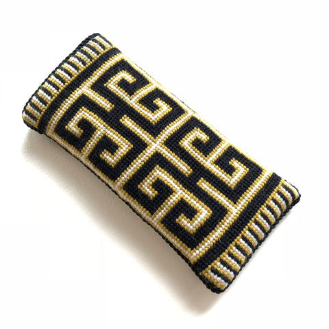 Eyeglass Case - Needlepoint Kit with Stitch Painted Canvas:  Greek Key Design