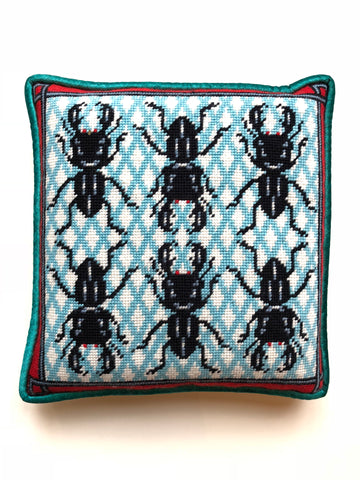 Pillow - Needlepoint Kit with Stitch Painted Canvas: Bugs