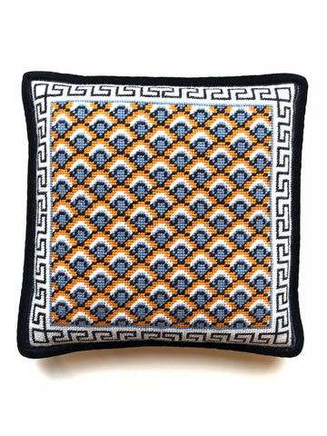 Pillow - Needlepoint Kit with Stitch Painted Canvas: Fishscales