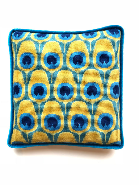 Pillow - Needlepoint Kit with Stitch Painted Canvas: Peacock