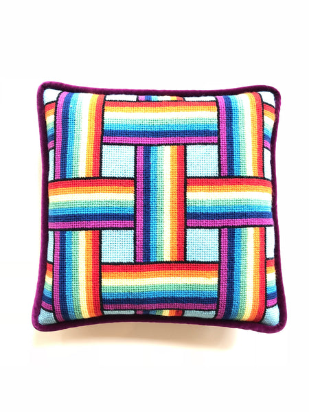 Pillow - Needlepoint Kit with Stitch Painted Canvas: Rainbow Weave