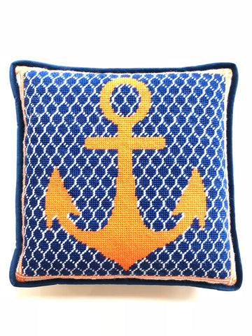 Pillow - Needlepoint Kit with Stitch Painted Canvas: Anchor