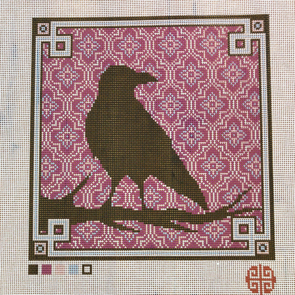 The Raven Needlepoint Kit with Printed Canvas