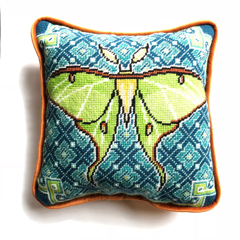 The Luna Moth Needlepoint Kit with Printed Canvas