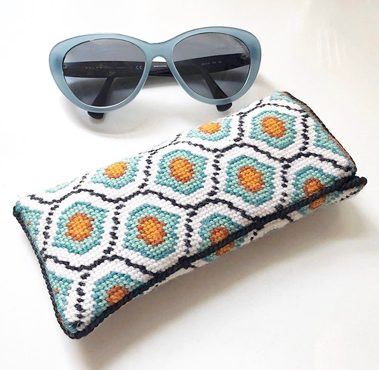 Eyeglass Case - Needlepoint Kit with Stitch Painted Canvas : Ogee Design